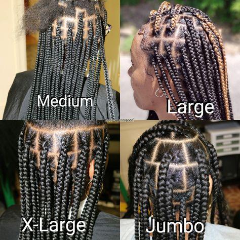 Knotless Box Braids Size Chart Box Braids Sizes Box Braids Styling Natural Hair Styles