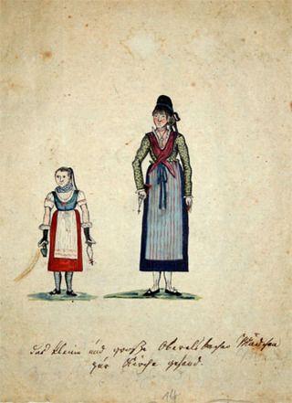 548e9ec37a59c Trachtengrafik Neustadt - Rhöner Tracht – Wikipedia. Zwei Mädchen ...