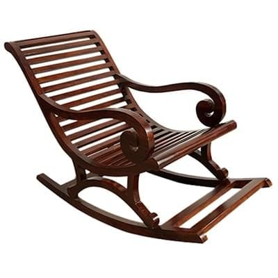 Buy Albin Rocking Chair Dark Teak Finish Online In India Kursi Goyang Kursi Perabot Buatan Sendiri