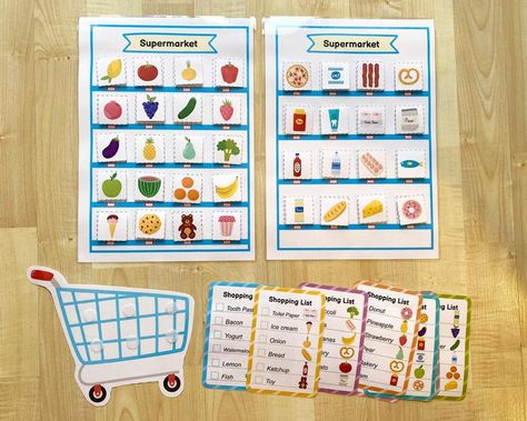 Shopping Busy Book Printable Game for Toddlers, Grocery Activity Worksheet, Busy Bag for Kids, Preschool File Folder Game, Shopping List