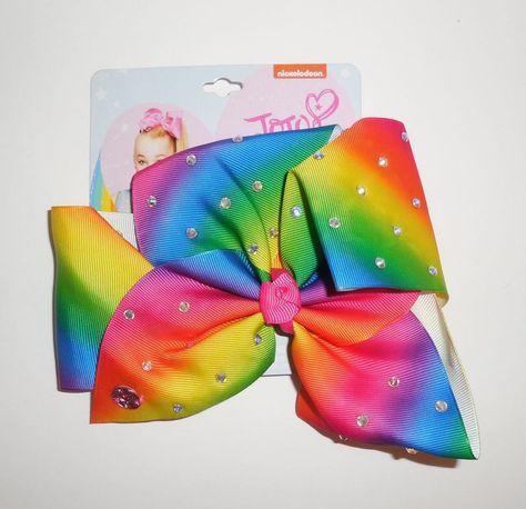 JoJo Siwa Large Rhinestone Rainbow Signature Hair Bow Dance Cheer New Blue Green