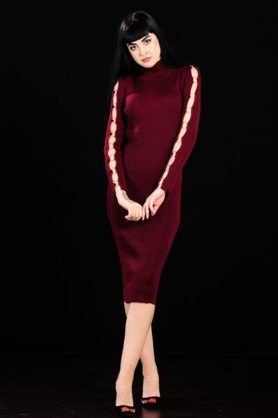 Kol Halka Detay Bordo Triko Elbise Elbise Modelleri Elbise Triko