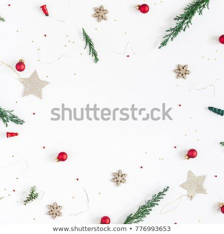 Christmas Composition Frame Made Of Christmas Tree Branches Golden Decorations And Red Berries O How To Make Christmas Tree Christmas Tree Branches Christmas