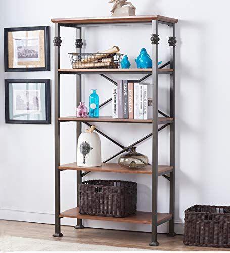 Living Room Shelving Unit O K Furniture 5 Tier Vintage Industrial Bookcase Furni Open Shelving Units Maple Living Room Furniture Vintage Industrial Furniture