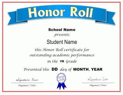 Fresh Honor Award Certificate Templates In 2021 Awards Certificates Template Honor Roll Certificate Templates