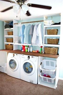 Laundry Room Built Ins Love The Hanging Bar Above The Machines