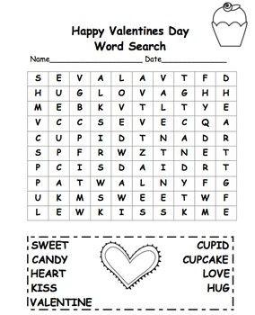 Valentine S Day Word Search 2nd Grade Free Freebie Valentine Word