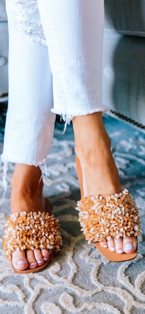 31a9d8c6a148 Tory Burch Women s Logan Embellished Slide Sandals. Love these sandals