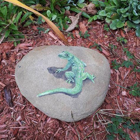 paintedrocksofinstagram Little lizard on a rock....