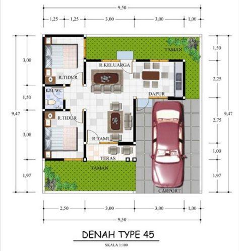 denah rumah ukuran 9x10 terlihat indah | denah rumah