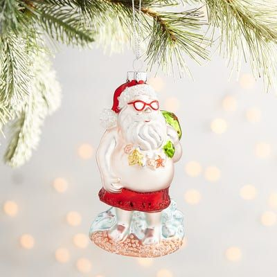 Beach Santa With Sunglasses Ornament With Images Pink Flamingo