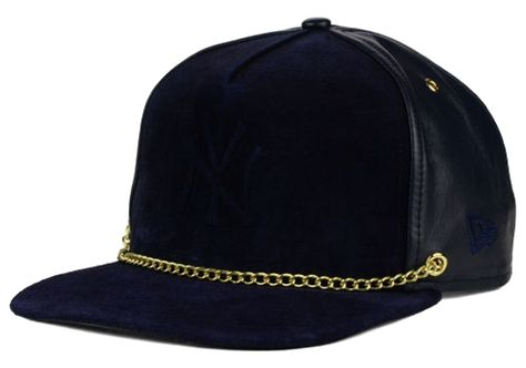 77216fa228c4c3 Baseball Head Gear For Every Head. This New York Yankees MLB Lux Chain  9FIFTY Strapback Cap features a New York Yankees logo and gold chain on the  front, ...