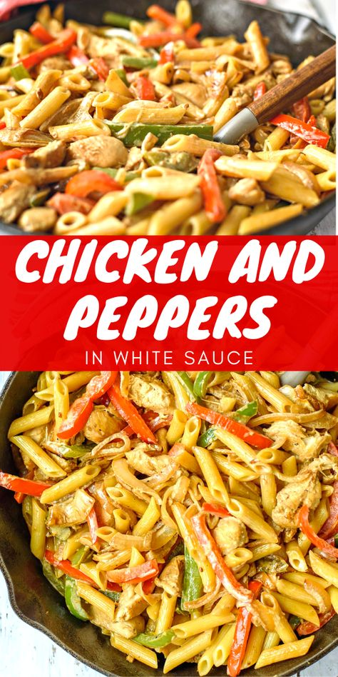 Chicken and Peppers in White Sauce - A delicious dinner using boneless skinless chicken with directions to make it with bone in chicken parts. The sauce in the recipe is delicious and you'll never guess what one of the ingredients is! #chicken #chickenfoodrecipes #chickenrecipes #dinner #dinnerrecipes #dinnerideaschicken