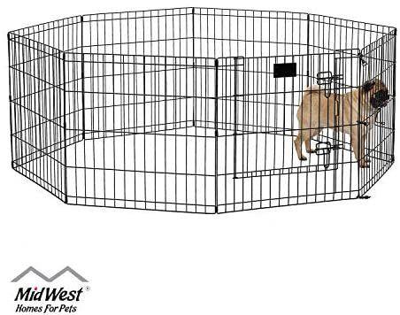 Midwest Homes For Pets Exercise Pen For Pets With Full Max Lock Door In 2020 Pet Playpens Dog Pen Dog Door