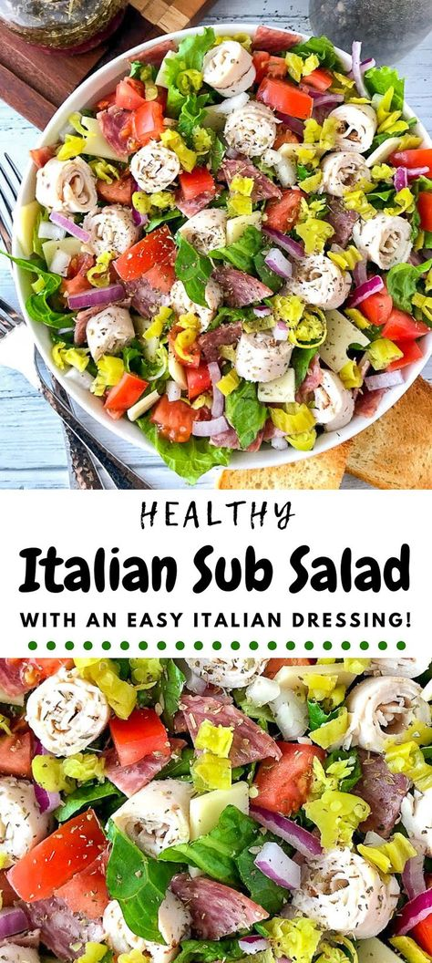 All the things you love about a classic Italian sub but chopped up in a bowl It s fresh and easy and even has a super simple Italian dressing recipe Easy Meals Healthy Salads Low Carb Italian Chopped Salad, Chopped Salad Recipes, Summer Salad Recipes, Salad Recipes For Dinner, Chicken Salad Recipes, Easy Salads, Healthy Salad Recipes, Chopped Salads, Simple Salad Recipes