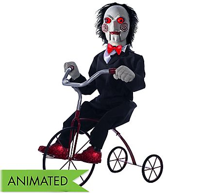 Animated Billy The Puppet Tricycle Decoration 38in X 16in Saw Party City Trajes De Halloween Payasos Triciclo