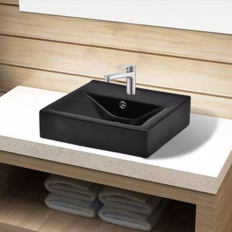 Ceramic Bathroom Sink Basin Black Faucet Overflow Hole Washroom Bowls Vessel Pot Ebay Ceramic Bathroom Sink Sink Wash Basin