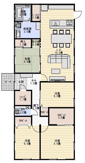 縦長の敷地に建つ平屋の間取り 平屋間取り 32坪 間取り 住宅設計