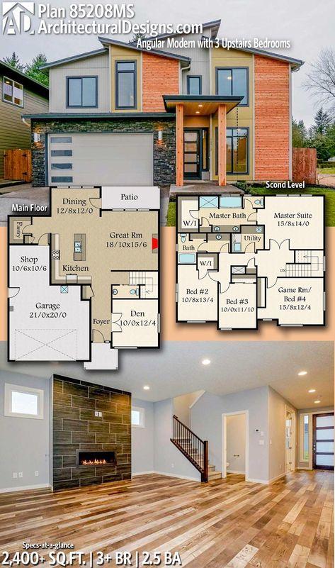 Plan 85208ms Angular Modern House Plan With 3 Upstairs Bedrooms Sims House Plans House Plans House Blueprints