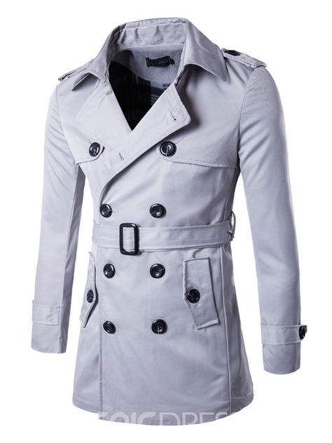 d070ebdd27 Ericdress Double-Breasted Plain Lapel Belt Vogue Slim Men's Trench Coat |Pattern:Plain
