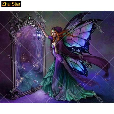 5D DIY Diamond painting craft kit.  Purple Fairy in the Mirror.  Square drill, 7 kit sizes to pick from.