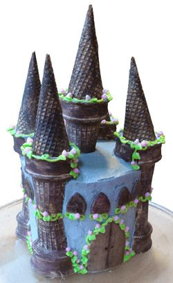 princess castle cake could be turned into a more boyish looking castle by omitting the flowers