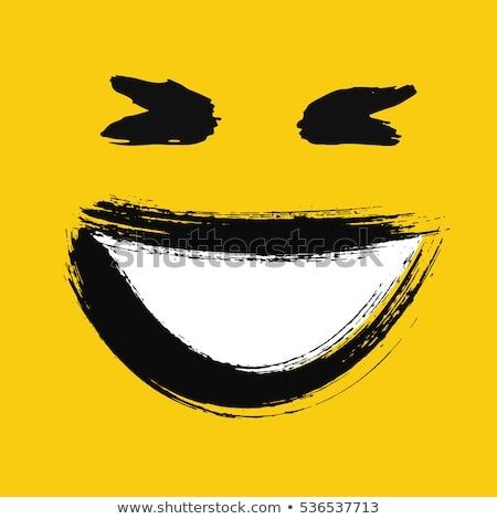 Laughing Emoticon Emoji With Wide Smile Showing Teeth Happy Face Painted Emotion Icon Grunge Brush Strokes Design Laughing Emoticon Emoticon Faces Emoticon