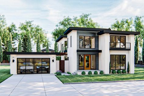 Plan 62869dj Gorgeous Modern Style 2 Story Home Plan With Upstairs Family Room In 2020 Modern House Plans House Designs Exterior Modern House