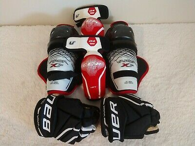Advertisement Ebay Bauer Youth Jr Size 10 Vapor X 60 Ice Hockey Gloves X 3 0 Knee Elbow Pads Set Hockey Gloves Hockey Shoulder Pads Elbow Pads