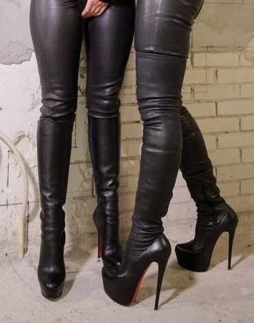 39ccc3ad23d Girls in sexy leather pants and high heel thigh boots