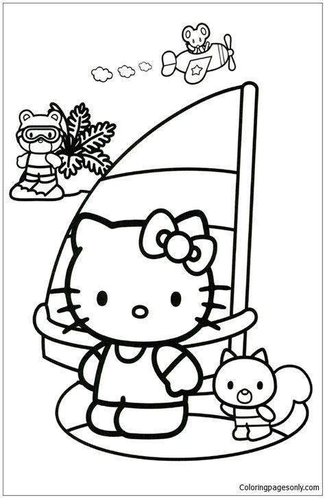 hello kitty sailing coloring page hello kitty coloring pinterest Hello Kitty Christmas Shopping hello kitty sailing coloring page