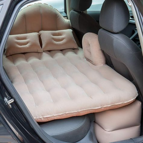 Inflatable Travel Car Mattress Air Bed Back Seat Sleep with Pillow/Pump Backseat Bed, Air Car, Portable Bed, Inflatable Bed, Cute Car Accessories, Car Essentials, Car Gadgets, Car Hacks, Cool Inventions