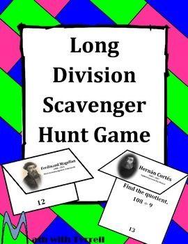 Long Division Scavenger Hunt Game