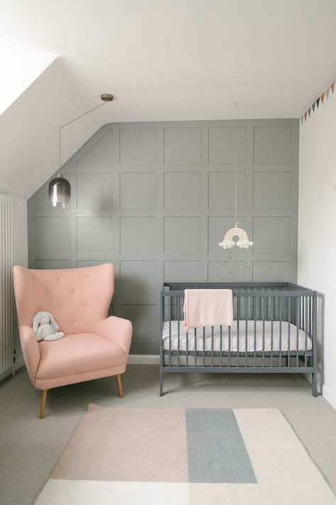 Panelled Wall In Manor House Grey - Panelled Wall Detail In Baby Nursery