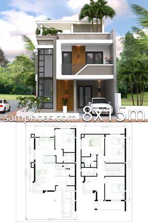 Home Design Plan 8x15m With 4 Bedrooms Fachadas Casas