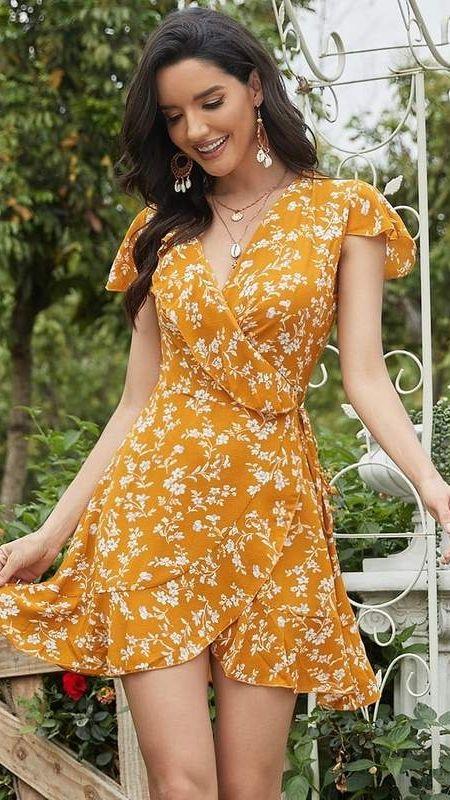 Plunging V-Neck Layered Ruffle Short Casual Wrap Dress
