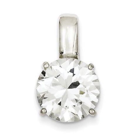 4mm x 10mm Sonia Jewels Sterling Silver Diamond /& Simulated Garnet Oval Pendant