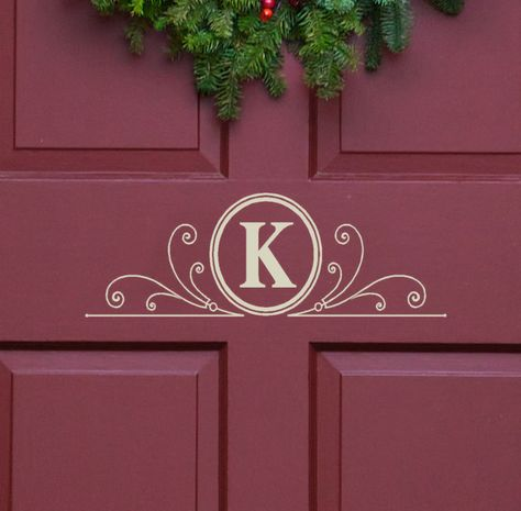Vinyl Decal Monogram Letter with Scrolls Front Door Decor, mailbox Decals and personalized gifts. $12.00, via Etsy.
