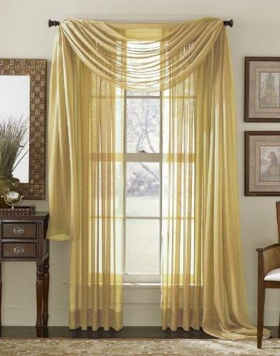 Set Of 2 84 Long Yellow Gold Sheer Voile Curtains Tailored