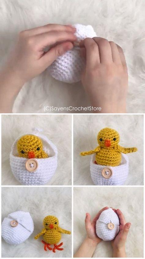 Crochet Hatching Chicken Egg Pattern - Adorable for an easter basket filler. Easter crochet pattern. Etsy find affiliate link.