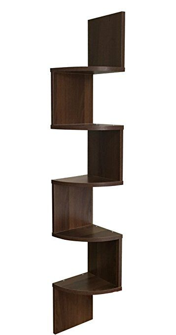 Ewei S Homewares 5 Tier Large Corner Wall Mount Shelf Walnut Wall Mounted Shelves Wall Storage Shelves Mounted Shelves