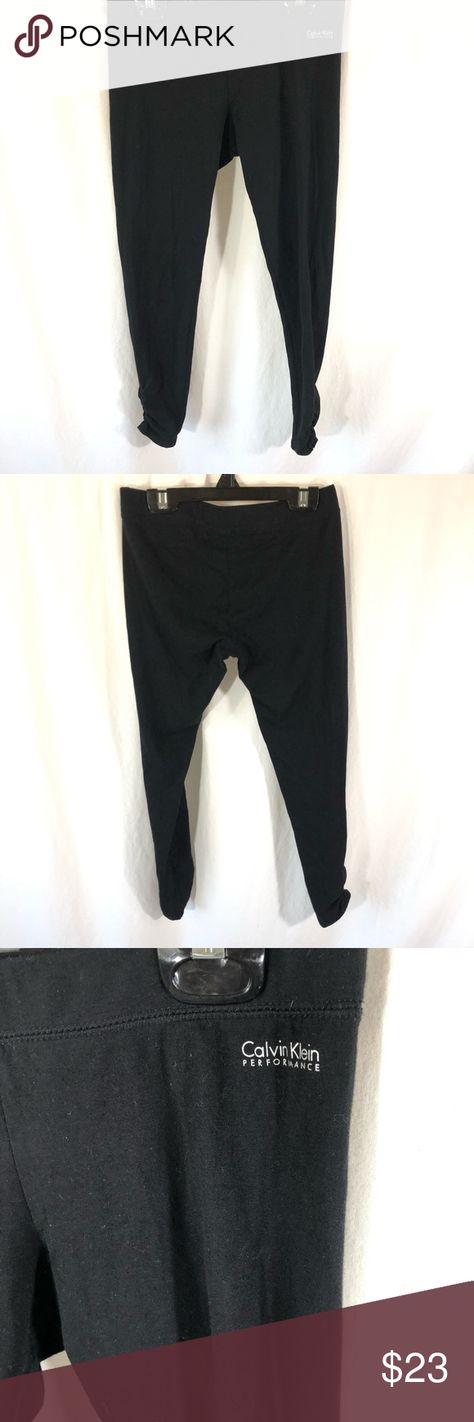 f62bf2efd ... Calvin Klein Womens Leggings Performance Quick Dry Black Cotton Ruched Leg  Size S. Super stretchy with 90% Cotton and 10% Spandex. The waist is  13