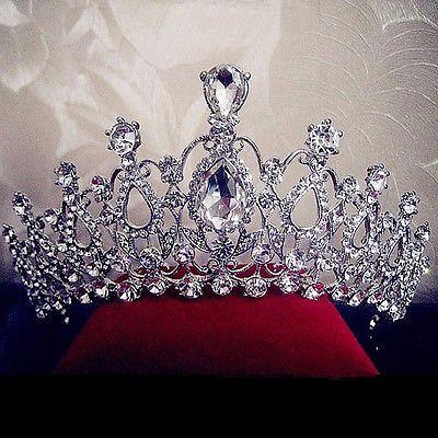 Wedding Bridal Crystal Rhinestone Silver Headband Crown Tiara Hair Jewelry Prom