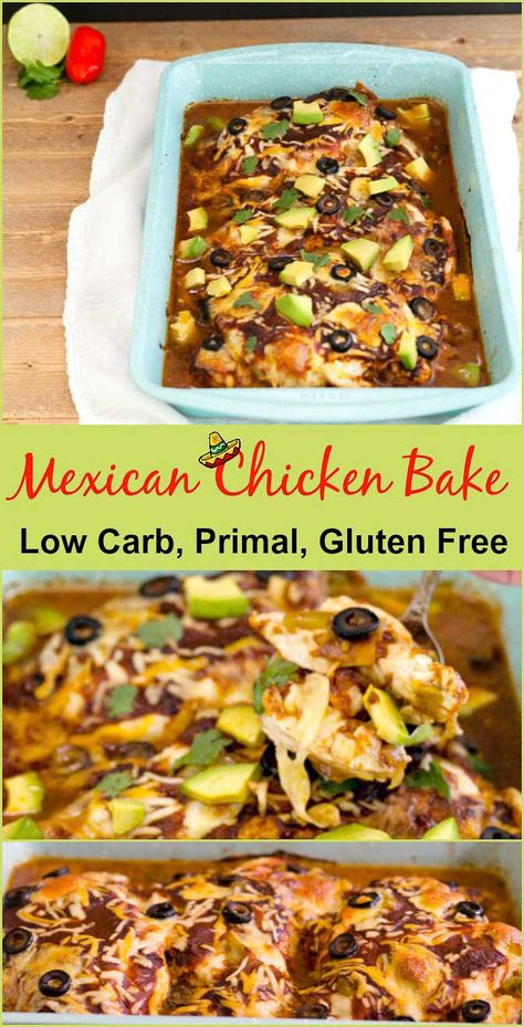 Easy Mexican chicken bake low carb is a gluten free, grain free, primal chicken dish that is simple to prepare. via @staceyloucraw