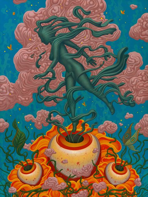 Boris Pelcer's Otherworldly Acrylic Paintings The acrylic paintings of illustrator Boris Pelcer carry a blend of influences and texture that defy the materials used to craft each surreal scene. Art And Illustration, Food Illustrations, Arte Inspo, Kunst Inspo, Indie Kunst, Indie Art, Hippie Painting, Trippy Painting, Trippy Drawings