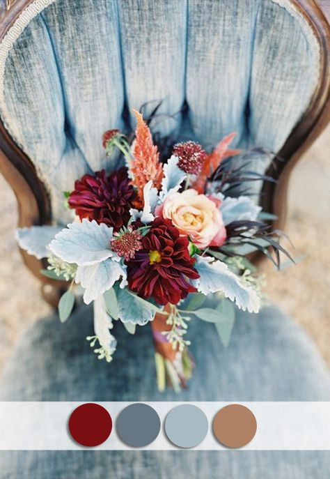 burgundy and dusty blue october wedding colors for fall 2015