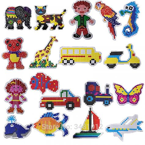 DIY Craft Template Puzzle Pegboards Pattern 5mm Hama Perler Beads Kids Toys