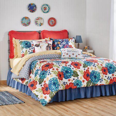 The Pioneer Woman Dazzling Dahlias Comforter Walmart Com Duvet Sets Woman Bedroom Bed Decor
