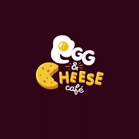 Egg and cheese food logo inspiration, scary cheese eating letters, funny design by Maksim marakhovskyi