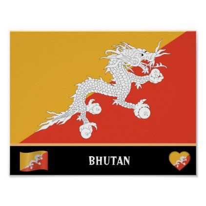 Bhutanese Flag Bhutanese Country Bhutan Dragon Poster Zazzle Com In 2020 Bhutanese Flag Bhutan Custom Posters